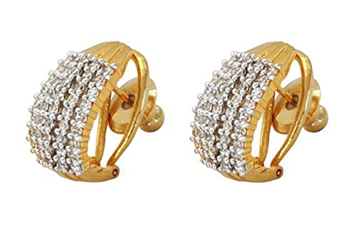 4749d2534 Aabhu Sparkling Top Quality CZ Designer Platinum Plated Tops Stud Earrings  Jewellery For Women And Girls: Amazon.in: Jewellery