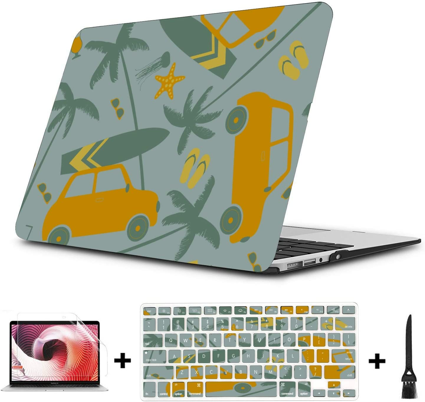 MacBook Accessories Case Summer Retrocar Beach Palm Tree Plastic Hard Shell Compatible Mac Air 11 Pro 13 15 Laptop Hard Cases Protection for MacBook 2016-2019 Version