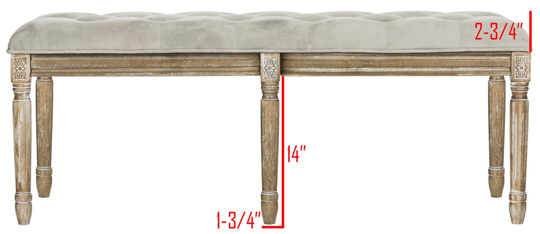 Safavieh Home Collection Rocha French Brasserie Tufted Grey and Rustic Oak 19-inch Wood Bench by Safavieh (Image #4)