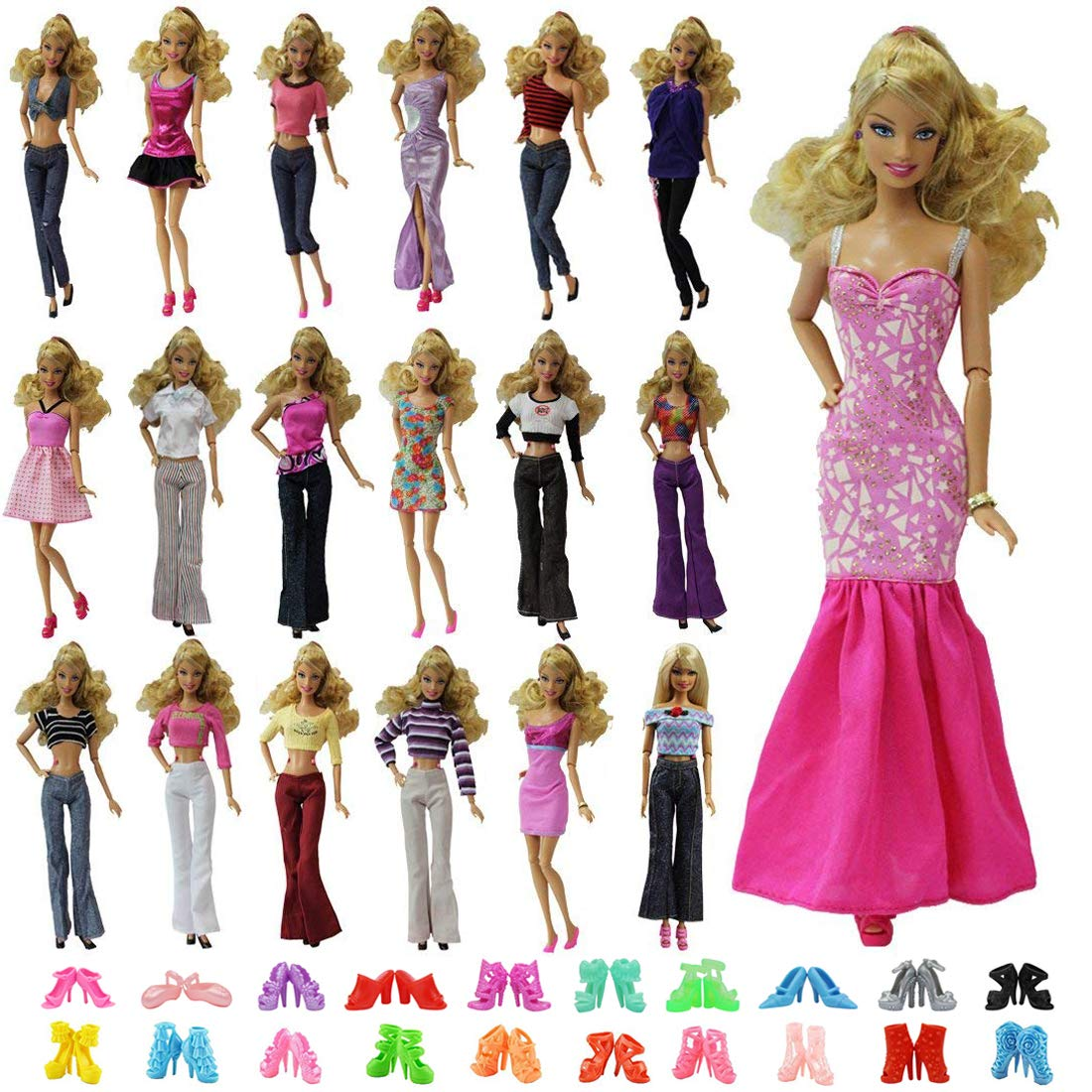 ZITA ELEMENT 5 Sets Barbie Clothes Mix Shirt & Pants 5 Pairs Shoes Accessories Barbie Doll Random Style
