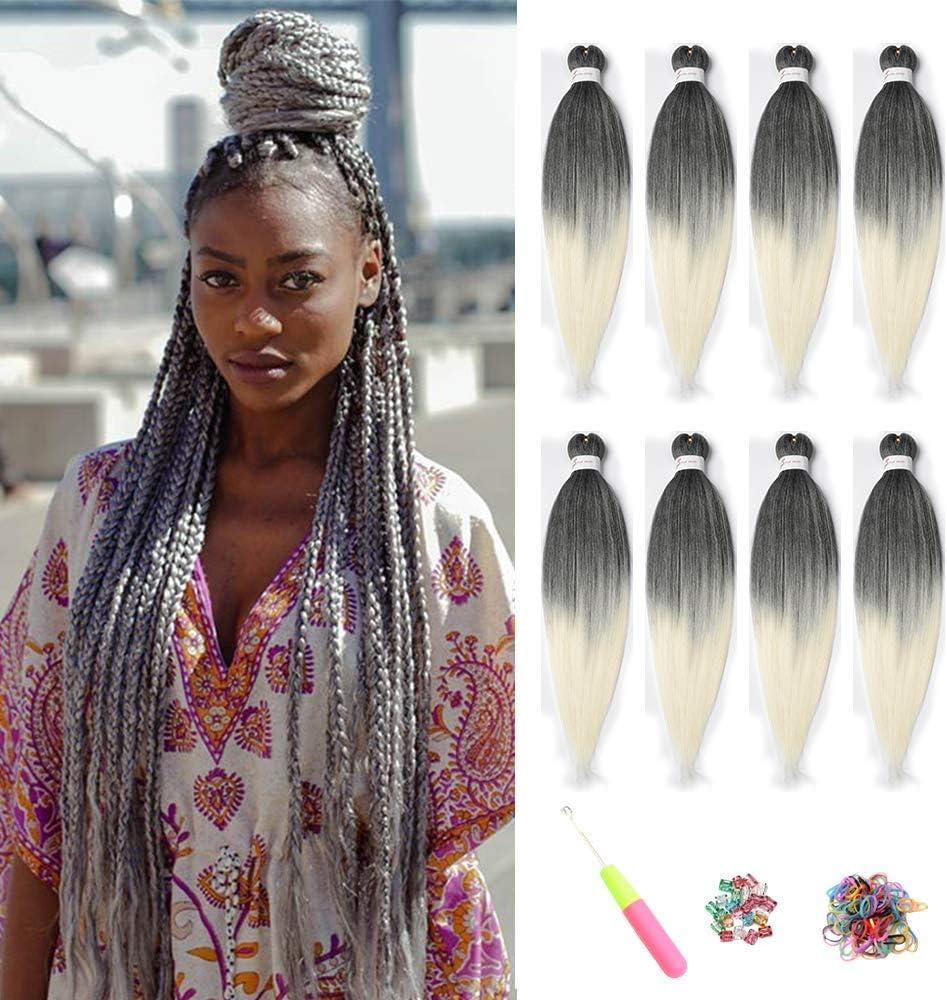 Easy trenza pre estirada extensión del cabello trenzado, trenzado de cabello Crochet Extensiones de cabello de fibra sintética hechas a baja temperatura 8 piezas (20inch(51CM), T1B/613#)