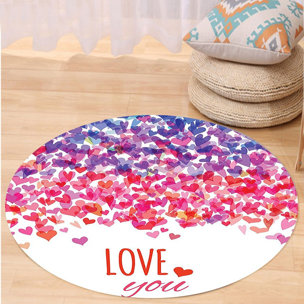 VROSELV Custom carpetLove Decor Hearts Love You Message Romantic Valentines Day Springtime Cheerful Art Bedroom Living Room Dorm Decor Round 79 inches