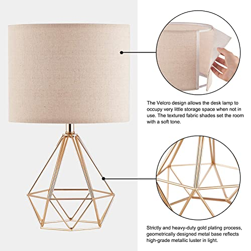 Hong-in Modern Gold Table Lamps Geometric Hollowed Out Base, 15.2 Bedside Gold Lamps for Bedroom Living Room Side Table Nightstand with Metal Base and White Fabric Shade