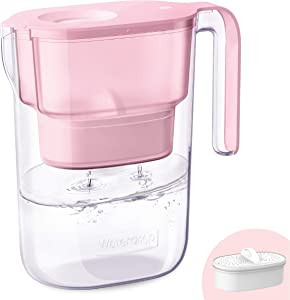 Waterdrop 5-Cup Water Filter Pitcher with 1 Filter, Long-Lasting (200 gallons), 5X Times Lifetime Filtration Jug, Reduces Lead, Fluoride, Chlorine and More, BPA Free, Pink, WD-PT-05P