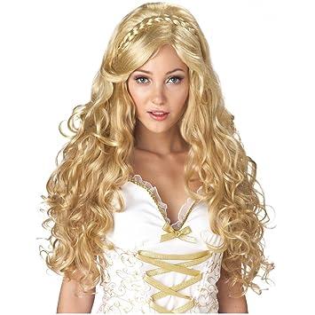 Antike Gottin Perucke Blond Mit Locken Einheitsgrosse Amazon De