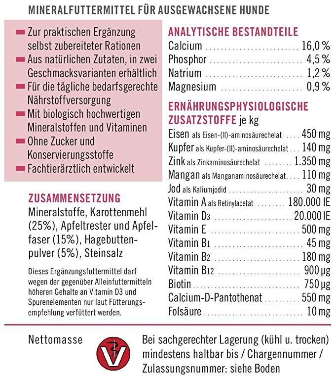 napfcheck Novo Mineral Adult - para Perros - Zanahoria, Manzana, Escaramujo - 1000 g: Amazon.es: Productos para mascotas