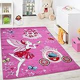 Paco Home Kinderteppich Pink Zauberfee Prinzessin Kinder Teppiche für Mädchen Fuchsia Pink, Grösse:120x170 cm