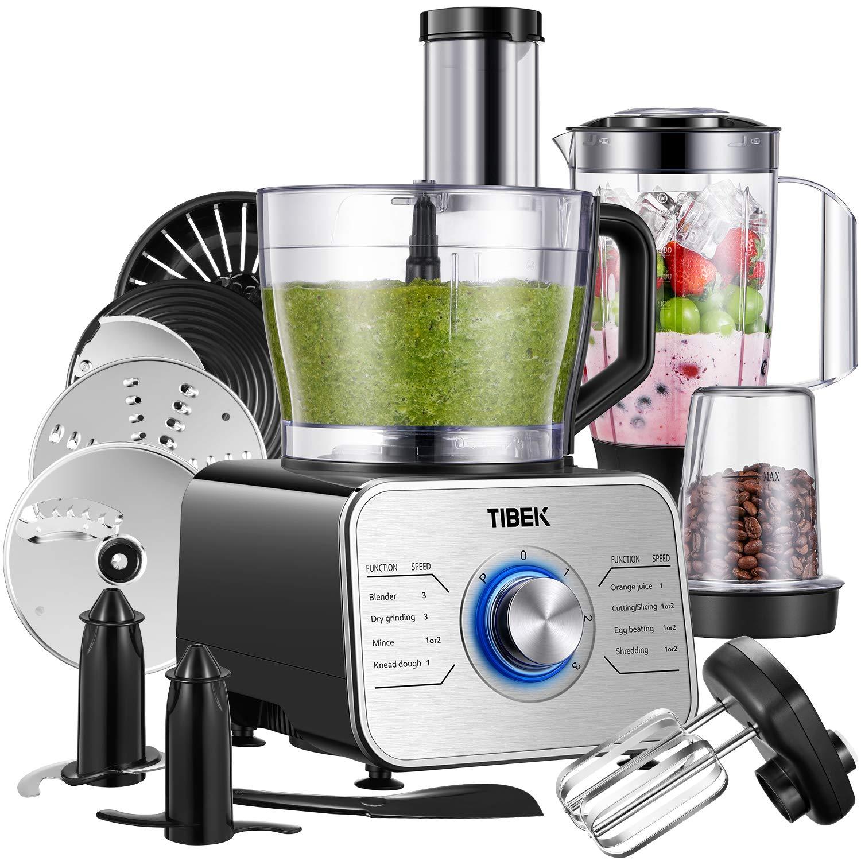 Tibek Robot da cucina 7 in 1, Potente frullatore da 1100 W con 3 velocità include Impastatrice, frullatore, spremiagrumi e macinino, 3.5L, argento