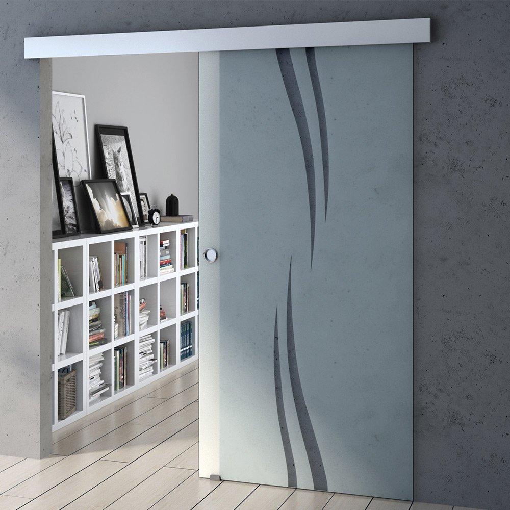 largeur 102,5cm Porte coulissante en verre design Hauteur 205cm porte de bureau Amalfi TS15-1025 porte de chambre verre de securite en partie satinee
