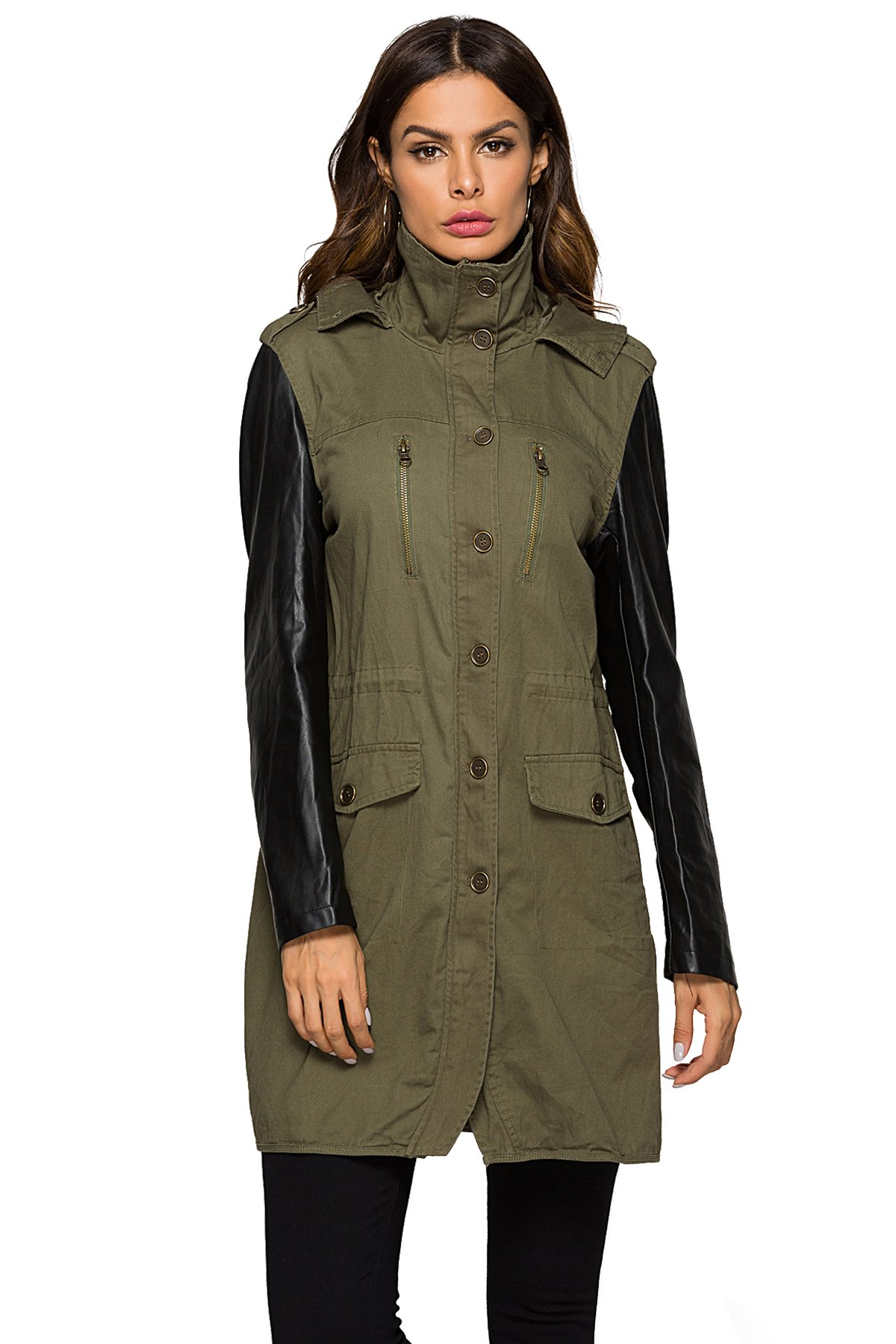 Escalier Women`s Leather Sleeve Jacket Hooded Anorak Safari Parka Coat Army Green M by Escalier
