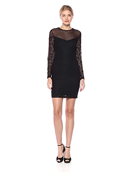 Guess Womens Lacemesh Combo Dress With Sleeves At Amazon Womens