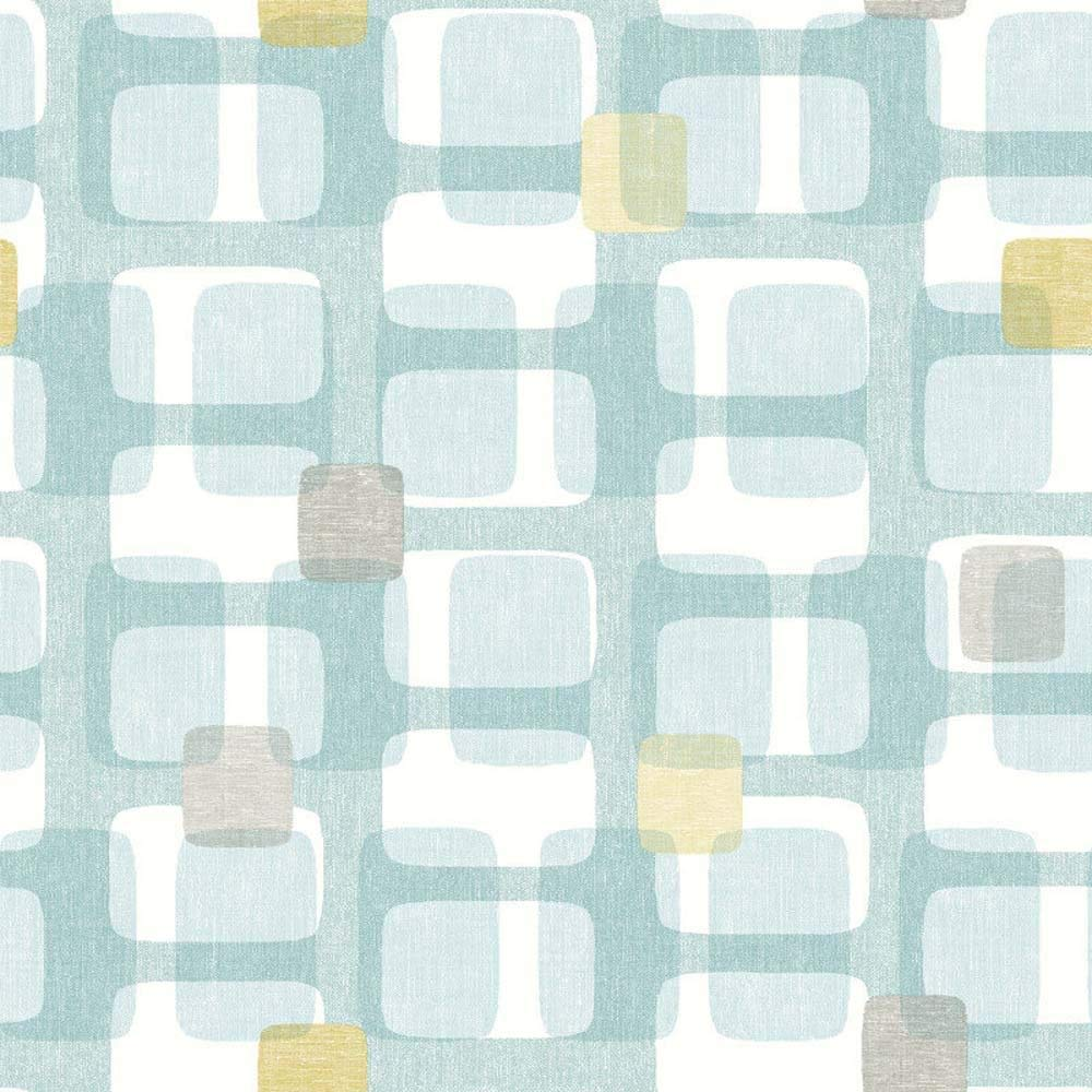Arthouse Teal Grey Yellow Retro Block Pattern Wallpaper Vintage Geometric Luxury
