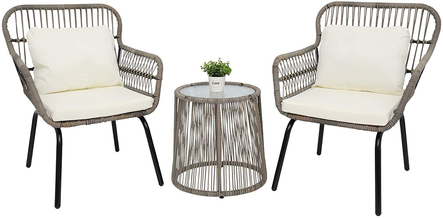 TRRAPLE 3 Pieces Patio Furniture Set, Outdoor Wicker Patio Furniture Sets Modern Bistro Set Rattan Chair Conversation Sets with 2 Chairs and Glass Top Side Table for Yard and Garden