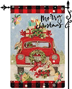 Coskaka Merry Christmas Garden Flag, Xmas Red Car Cute Dog Gift Flag Vertical Double Sided Rustic Farmland Black Red Buffalo Check Plaid Burlap Yard Lawn Outdoor Decor 12.5x18 Inch