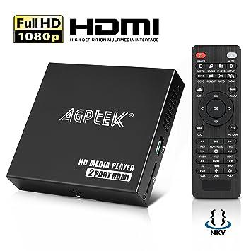 AGPtEK Media Player HD Media Player Mini HD TV Player USB 1080P HDMI AV Player - MKV / RM-SD / USB HDD-HDMI, CVBS HDMI Support y YPbPr Video Output ...