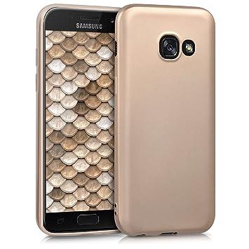 kwmobile Funda para Samsung Galaxy A3 (2017) - Carcasa para móvil en TPU Silicona - Protector Trasero en Oro Metalizado