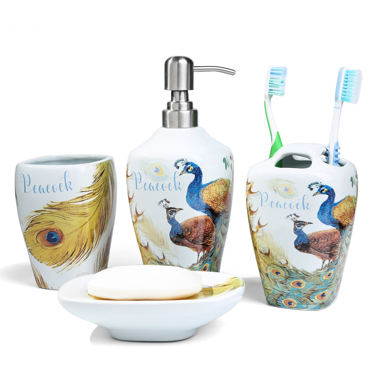 FORLONG FL3011 Ceramic Peacock Bathroom Accessories Set of 4:1 Gargle Cups,1 Toothbrush Holders,1 Soap Dishes,1 Soap Dispenser