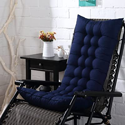 HMWPB Sun Lounger Cushions, Lounge Chair Cushion - Portable Garden Patio Thick Padded Bed Recliner Relaxer Chair Seat Cover for Travel Holiday Indoor Outdoor-Navy Blue 110x40cm(43x16inch): Kitchen & Dining
