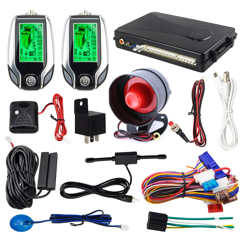 EASYGUARD 2 Way car Alarm System EC204 with PKE Passive keyless Entry, Rechargeable LCD Pager Display & Shock Warning DC12V by EASYGUARD