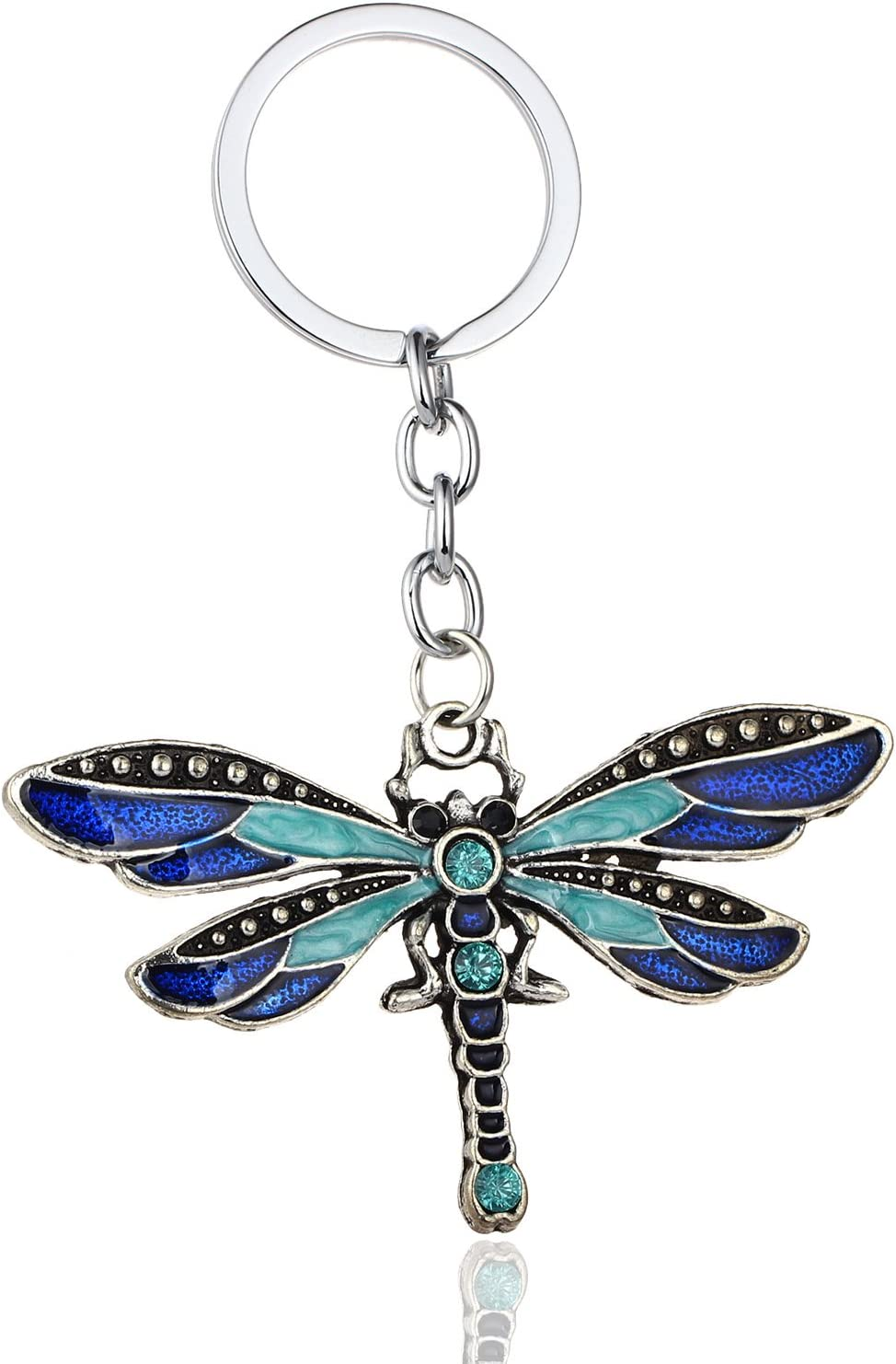 Tvoip Dragonfly Keychain Fashion Jewellery Silver Keychain Dragonfly Charm Keychain Handmade Keychain Gift for Women Handmade Jewellery Keychain (Blue)