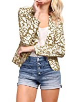 Allegra K Women's Peaked Lapel One Button Closed Leopard Prints Blazer