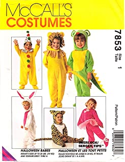 7853 mccalls sewing pattern uncut girls boys child halloween costume clown bunny lion tiger mouse santa