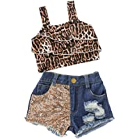 Zrom 0-4 Years Toddler Kids Baby Girls Print T shirt Denim Sequin Shorts Outfits Set