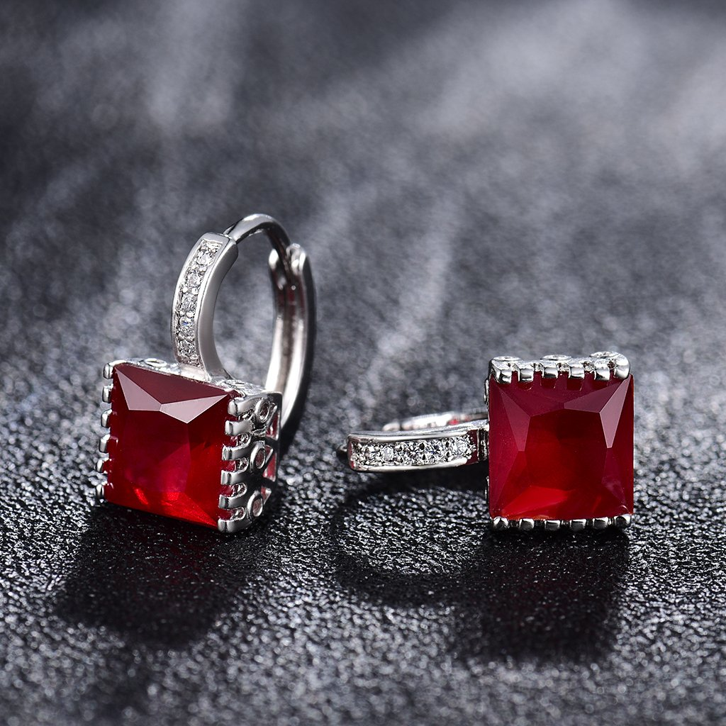 GULICX Princess Cut Square Zircon Stone Leverback Red Huggie Earrings Hoops White Gold Electroplated