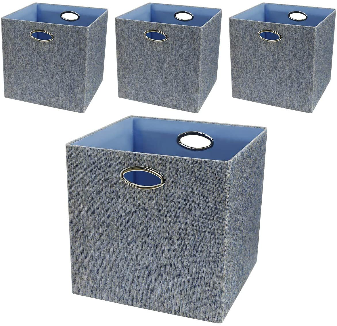 Posprica Storage Bins,13×13 Storage Cubes,Collapsible Fabric Storage Baskets Boxes Containers Drawers, 4pcs (Mixed of Blue/Grey)