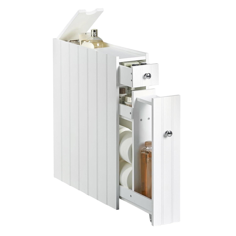 Bathroom Slim Cupboard Narrow Cabinet Toilet Room Storage ...