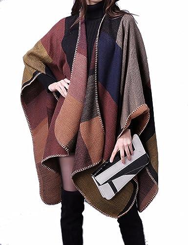 EMMA Poncho de Las Mujeres Manta Chalecos Invierno Abierto de Cachemira de la Tela Escocesa Abrigo Stoles Suéter