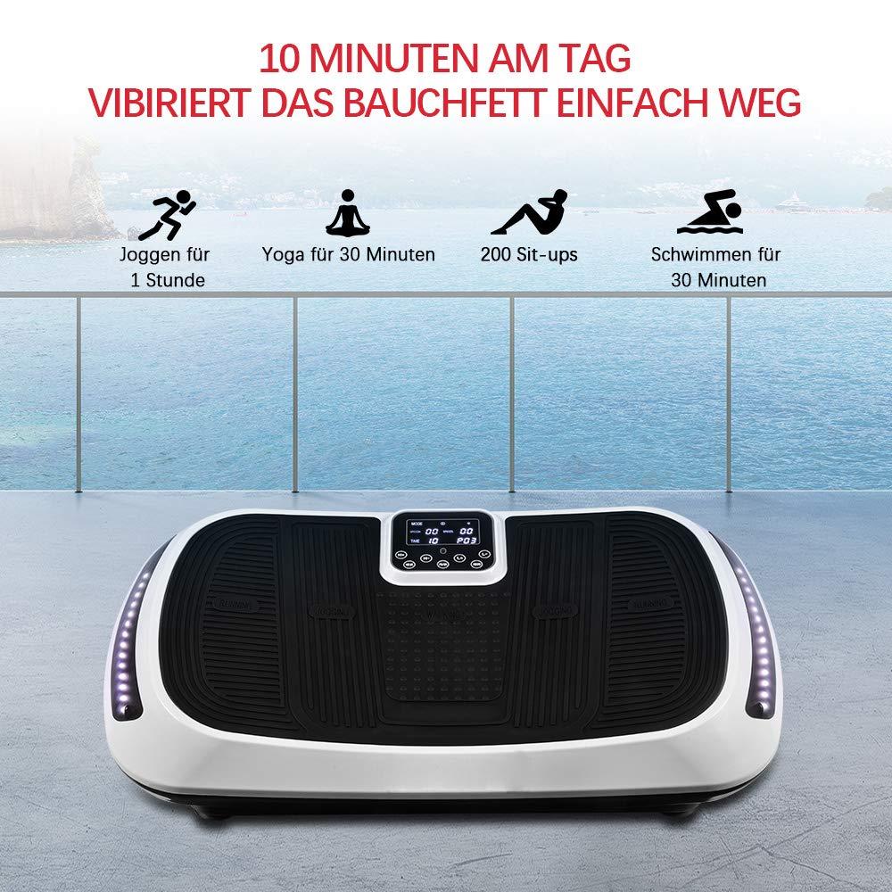 3D Vibraci/ón de todo el cuerpo M/áquina de entrenamiento para con Altavoces Bluetooth Alfombrado de Felpa /& Correas de equilibrio OT107 OneTwoFit Plataforma de vibraci/ón con doble motor fitness