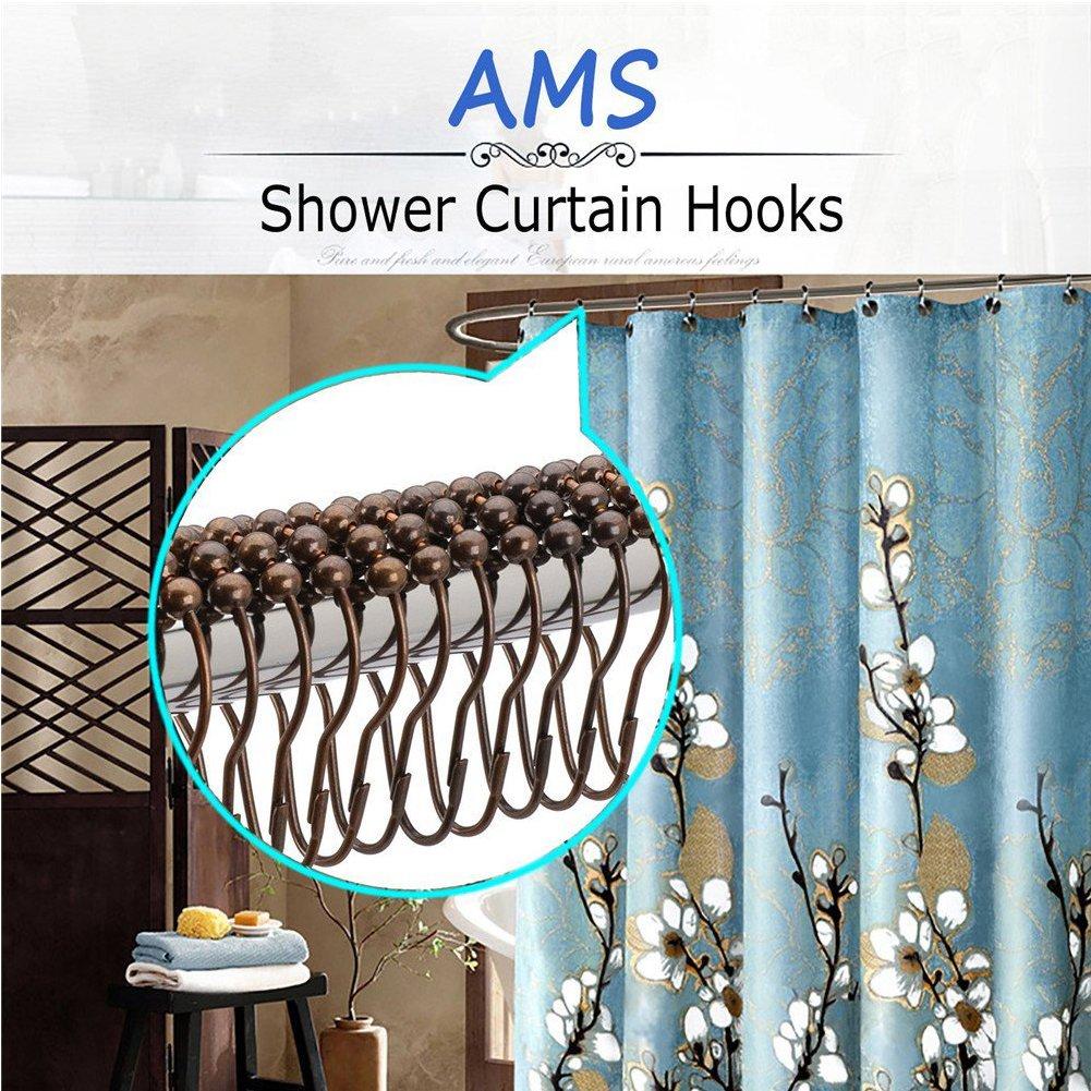 Edelstahl Dusche Vorhang Ringe Glide Roller rostfrei Duschvorhang Haken poliert chrom für Badezimmer Rods Vorhänge-Set von 12Stück kupfer quemu
