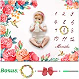 """HOMTEN Baby Monthly Milestone Blanket for Boy or Girl 12 Months Blanket Thick Fleece Memory Blanket Newborn Photography Prop Includs Head Band/Fabric Marker/Hemp Rope Marking - Large 50""""x40"""""""