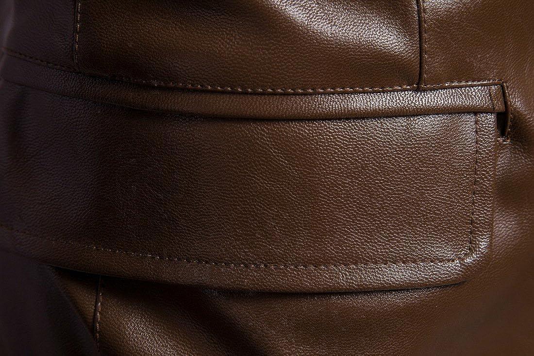 Tanming Mens Notch Lapel Two-Button Faux Leather Suit Blazer Jacket