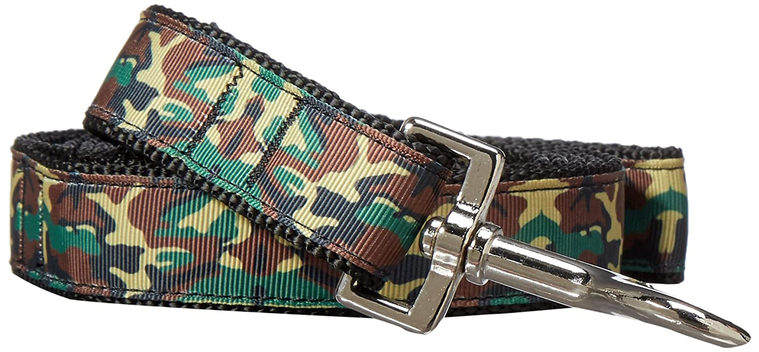 Mirage Pet Products Green Camo Nylon Ribbon Dog Collar with 1-Inch by 6-Feet Leash