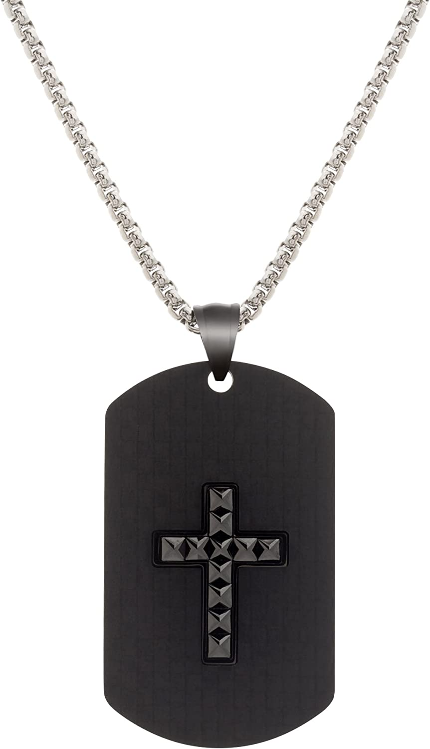 Stainless Steel 24 Mens Carbon Fiber Cross with Dog Tag Pendant Necklace