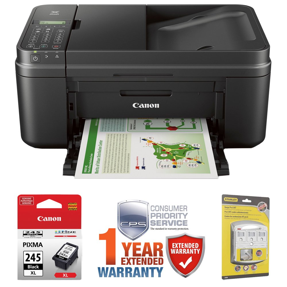 Canon PIXMA MX492 WiFi All-In-One Compact Size Inkjet Printer (0013C002) w/ Canon Black Ink Bundle Includes, Genuine Canon Black Fine Ink Cartridge, 6-Outlet Surge Adapter & 1 Year Extended Warranty