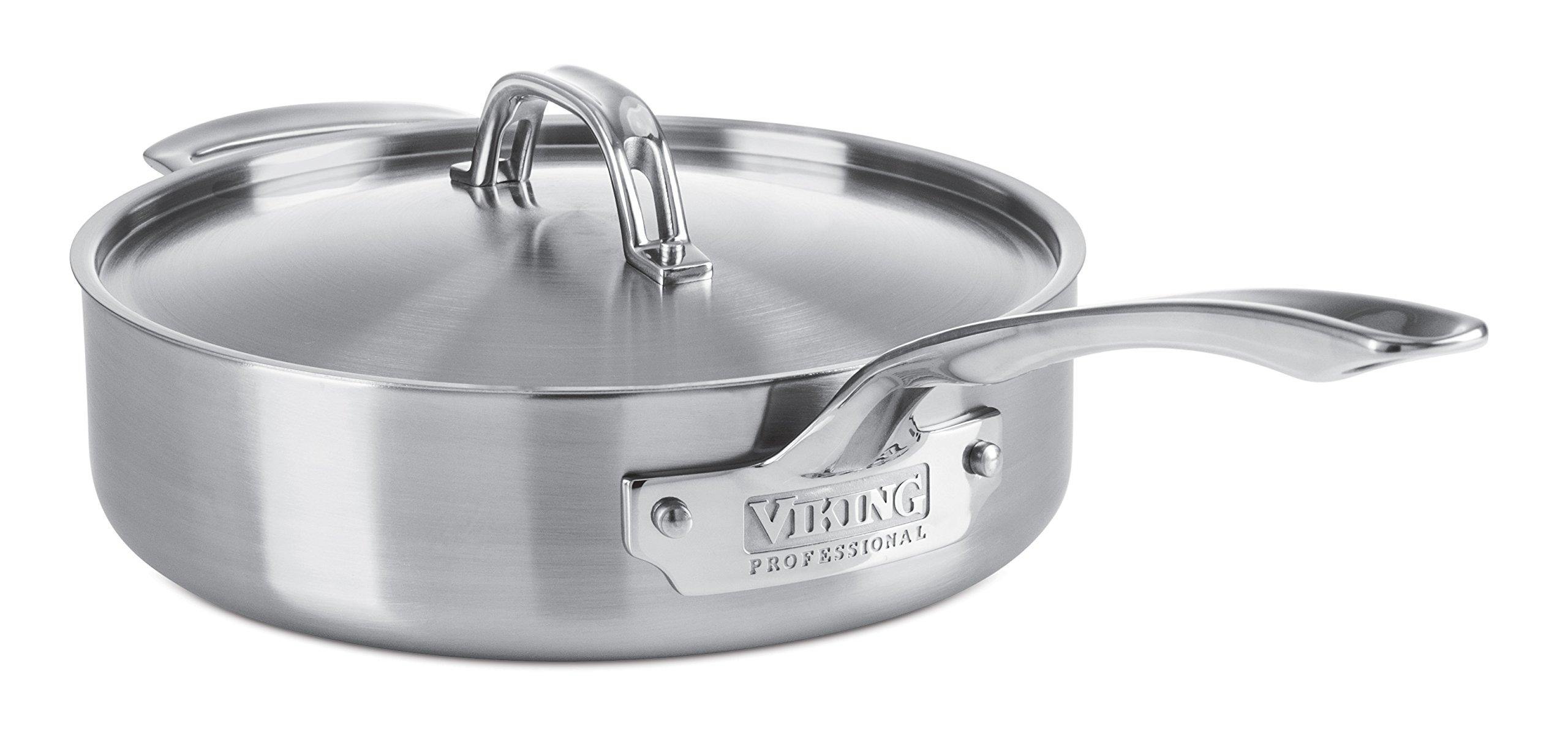 Viking Professional 5-Ply Stainless Steel Sauté Pan, 3.4 Quart