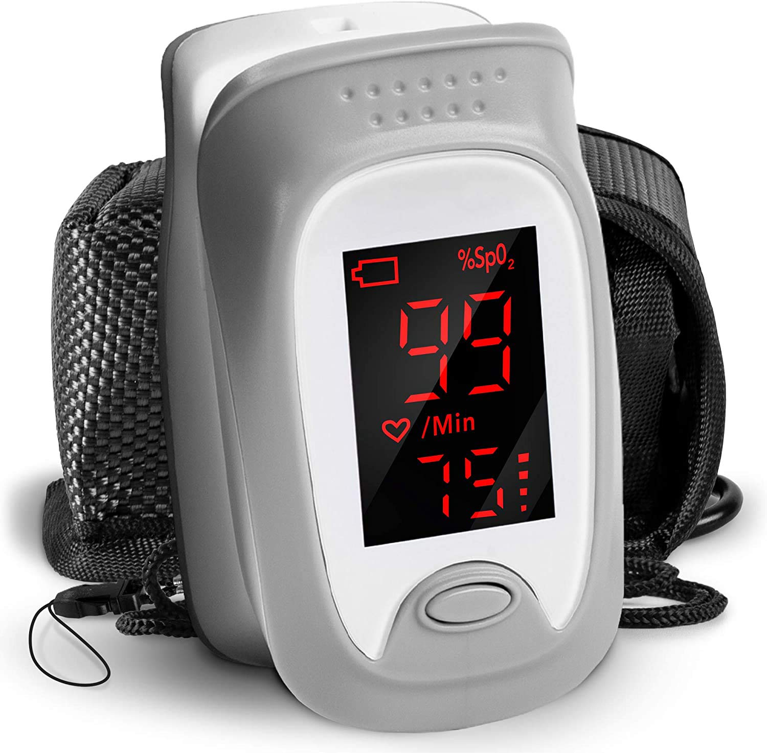 Finger Pulse Oximeter OX01R | Measures SpO2, Blood Oxygen, Pulse Rate | Digital Easy to Read Display & Accurate Readings | Comes with Lanyard and Carry Pouch