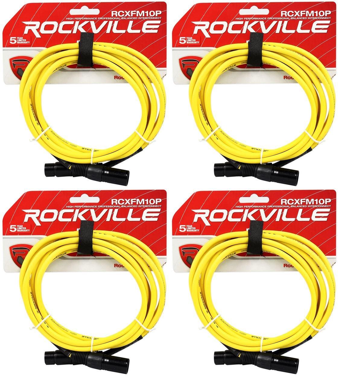 4ロックビルrcxfm10p-yイエロー10 'メスtoオスREAN XLRマイクケーブル100 %銅 B01N3PNMW7