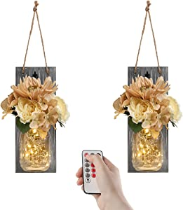 GBtroo Hanging Mason Jar Decor with Remote, Farmhouse Living Room Wall Art Decor with Timer-Battery Operated LED Fairy Lights & Rose Flowers for Home Decoration,Set of 2(Medium, Gray)