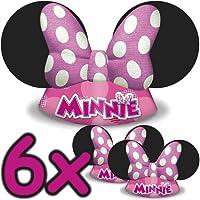 6cappelli Minnie Mouse, per bambini e adulti, adatti per feste di compleanno: i bambini adorano travestirsi dai loro personaggi preferiti!