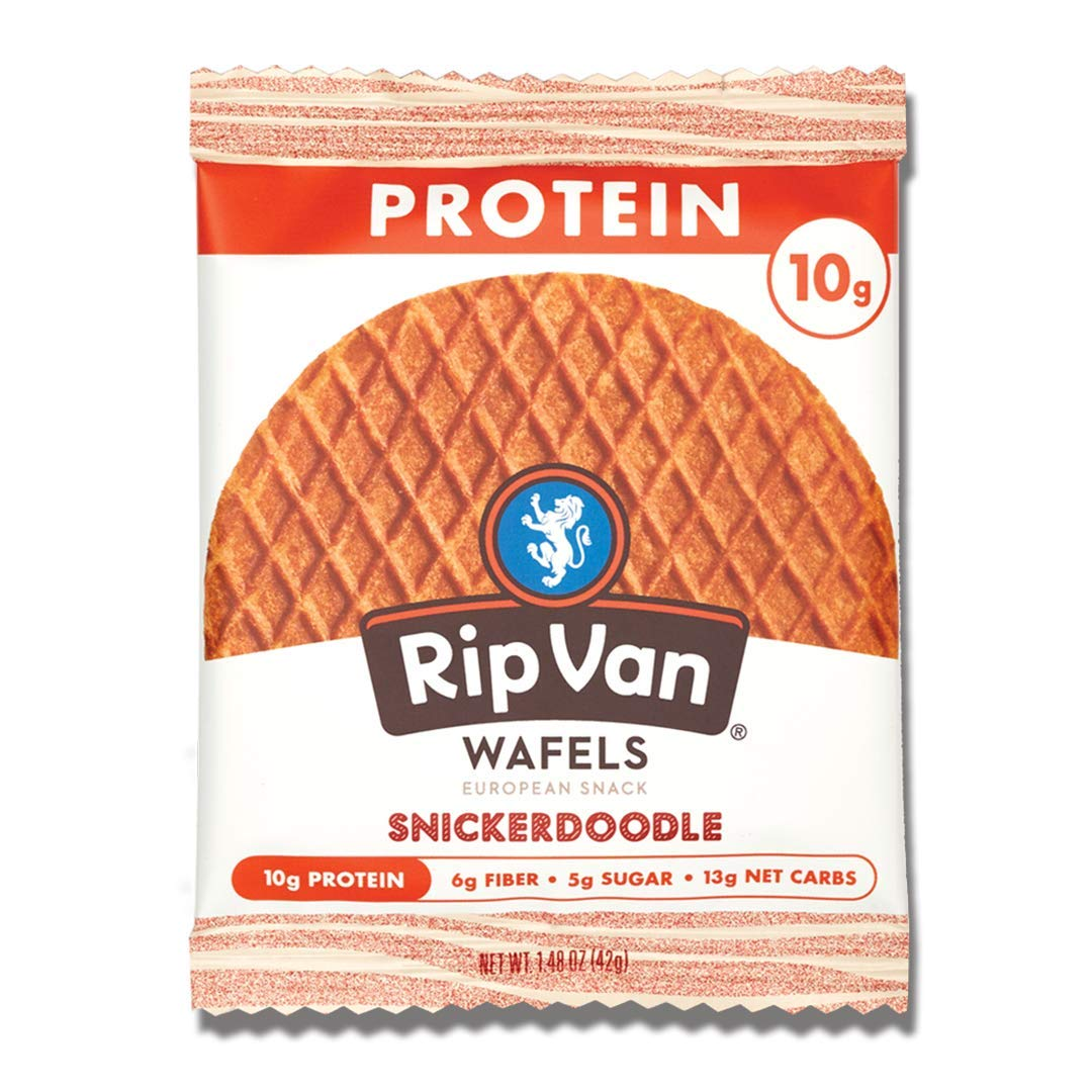 Rip Van Wafels Snickerdoodle Stroopwafels - High Protein Snacks (10g Protein) - Non GMO Snack - Keto Friendly - Office Snacks - Healthy Snacks - Low Sugar (5g) - 12 Pack
