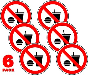 No Food or Drink Sign Stickers 6 in.- 6 Pack Decals UV Protected, Weatherproof Indoor/Outdoor for Business and Office