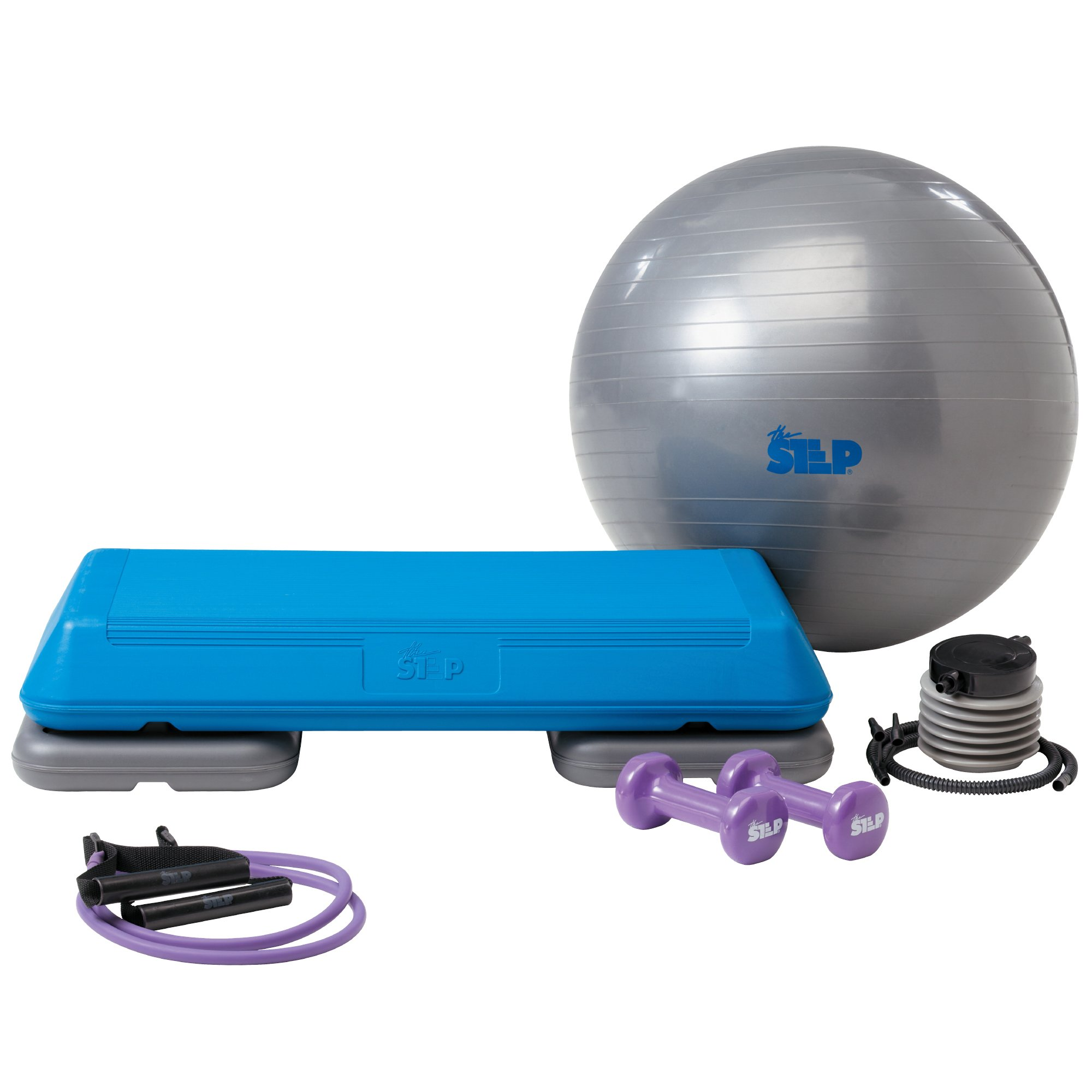 The Step Original Body Fusion Circuit-Size Aerobic Platform Set Includes Stability Ball, 3 lb. Dumbbells, Resistance Band, and Streaming Videos
