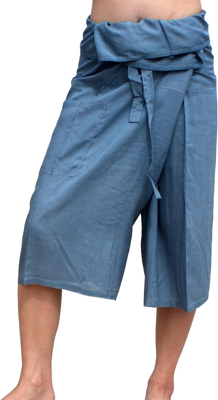 Raan Pah Muang Gray Viscose Rayon Shorts Thai Fisherman Pants Everyday Casual SZ M
