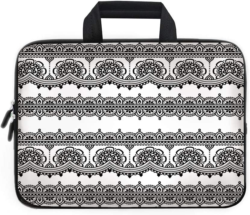 Stylish Tablet Bag Hamsa Hand Colorful Mandala Prints Notebook Sleeves Dustproof Neoprene Fabric Laptop Computer Sleeve Compatible with Laptop White 13inch