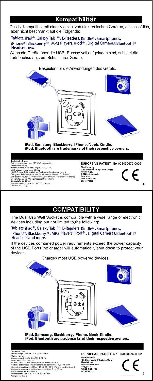 Enchufe doble Schuko con 2 enchufes de carga USB cada uno (máx. 2 ...