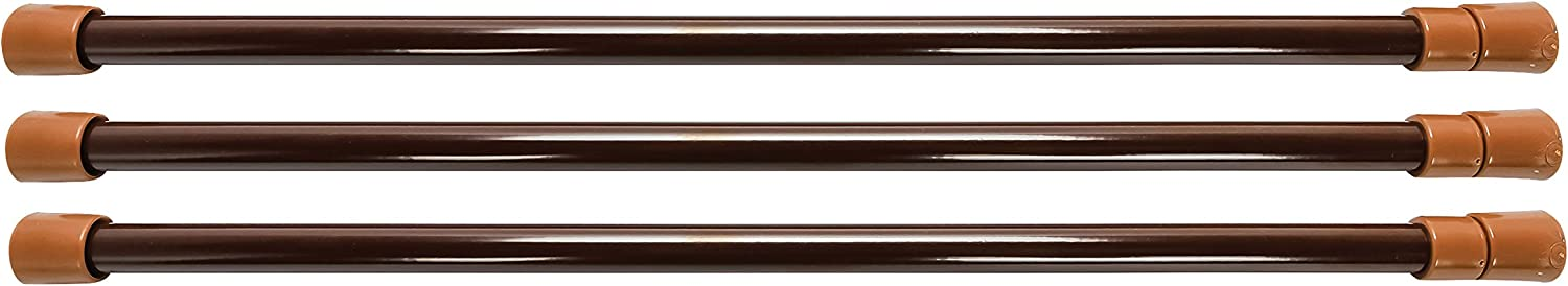 "Camco 28"" RV Refrigerator Bars - Holds Food and Drinks in Place During Travel, Prevents Messy Spills, Spring Loaded and Extends Between 16"" and 28"" - Brown (3 Pack) (44056)"